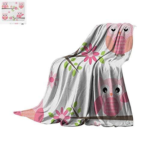 Owl Super Soft Lightweight Blanket Cute Baby Owls Waving in The Floral Tree Springtime Artful Girly Design Print Custom Design Cozy Flannel Blanket 50