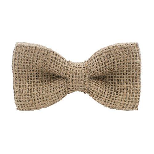 (Burlap Classic Pre-Tied Bow Tie Solid Hessian Rustic Linen Hemp Bagging, by Bow Tie House (Medium, Beige) )