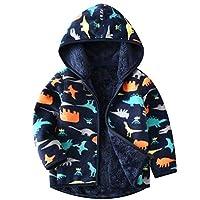 Happy childhood Baby Boys Girls Polar Fleece Warmth Printing Reversible Jacket Autumn Winter Outwear Lightweight Coat Dinosaur 100