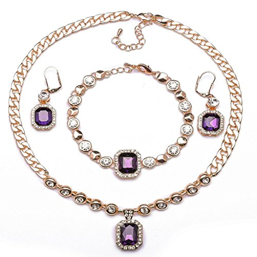 Bridal Design Set (ABAIHSMOON Jewelry Set for Women with Crystal and Rhinestone Diamonds, Durable Fashion Design of Pendant Necklace, Earrings and Bracelet Chain for Bridal, Bridesmaids, Prom)