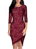 Miusol Women's Elegant Floral Lace 2/3 Sleeve Slim Evening Dress,Red,Large