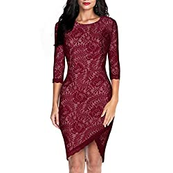 Miusol® Women's Elegant Floral Lace 2/3 Sleeve Slim Evening Dress
