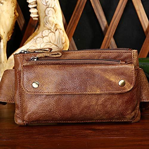 Talla Bolso con café cinturón Hombre Unisex marrón cinturón Kimruida y para Cremallera Bandolera única Ptqx6wd