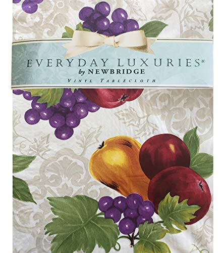 (Avalon Fruit Pattern Indoor/Outdoor Flannel Backed Vinyl Tablecloth - 60