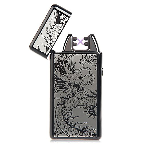 Kivors USB Rechargeable Windproof Flameless Electronic Double Pulse Arc Cigarette Lighter Belief Chinese Dragon Lighter by Kivors (Image #1)