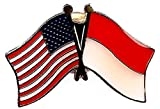 PACK of 3 Indonesia & US Crossed Double Flag Lapel Pins, Indonesian & American Friendship Pin Badge