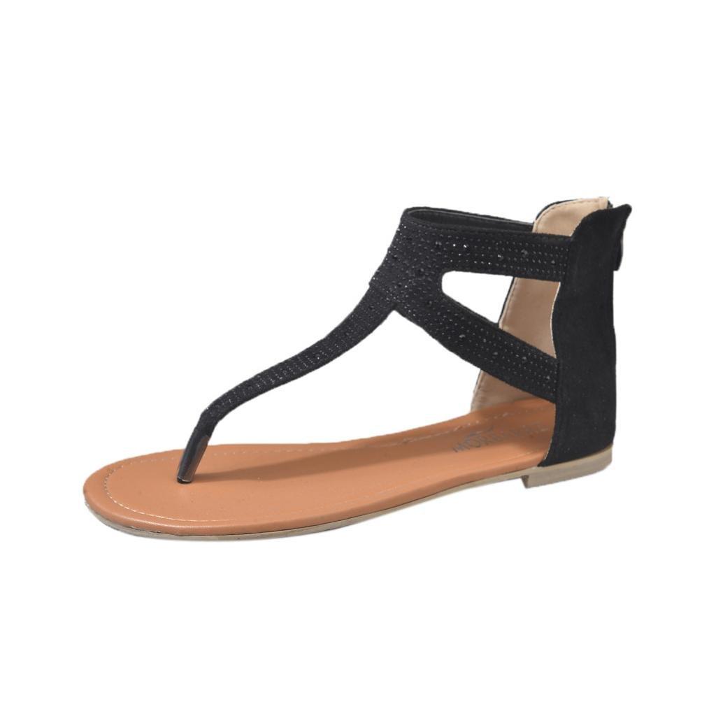 Inverlee Women Diamond Zipper Gladiator Low Flat Flip Flops Beach Sandals Bohemia Shoes  (Black, 7 (US))