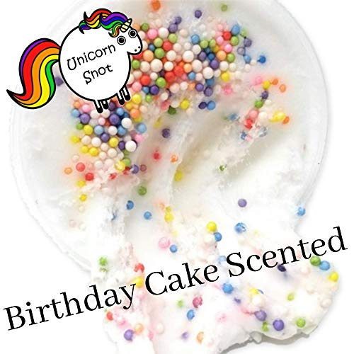 Unicorn Snot Company Fluffy Cloud Slime - Birthday Cake Scented - Non - Sticky Made in The USA 8 oz