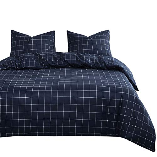 Wake In Cloud - Navy Blue Duvet Cover Set, White Grid Plaid Geometric Pattern Printed, Soft Microfiber Bedding, with Zipper Closure (3pcs, Queen Size)