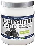 GloryFeel L-Arginin 4500   Arginin Kapseln Hochdosiert - 300 Kapseln mit je 913mg reinem Arginin Pulver + Piperin / Bioperin und Vitamin B12