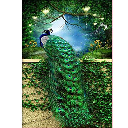 LLguz Peacock 5D Embroidery Paintings Rhinestone Pasted DIY Diamond Paintings Part Round Embroidery Kits Arts Home Decoration Wall Decoration