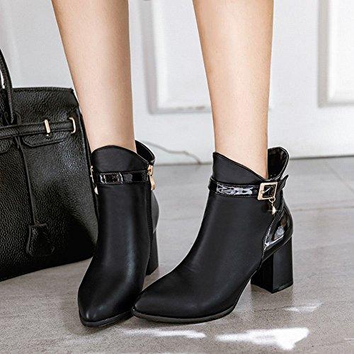 Carolbar Women's Contrast-Stitching Retro High Heel Zip Buckle Short Boots Black W0sF2e98o0