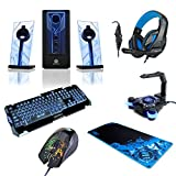 PC Gaming LED Computer Speakers with Subwoofer, LED Gaming Keyboard, 3500 DPI Optical Gaming Mouse, Gaming Headset , Extended Mouse Pad and Cable Management Bungee - Computer Gaming Bundle by ENHANCE