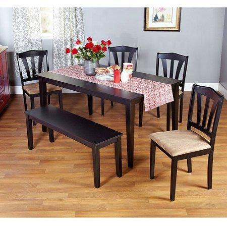 Metropolitan 6-Piece Dining Set with Bench, Black