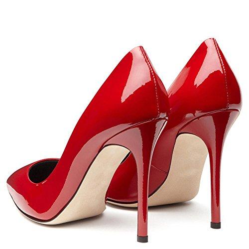 Cuero 8 Red Eur Puntiagudo Patentar Nvxie Tacón eur40uk7 Alto Señoras uk 5 Tamaño 35 Mujeres Club Zapatillas Zapatos Corte Rojo Estilete 7 Trabajo 44 Fiesta 41 Vestir Nocturno Negro Inteligente BfBWI8pA