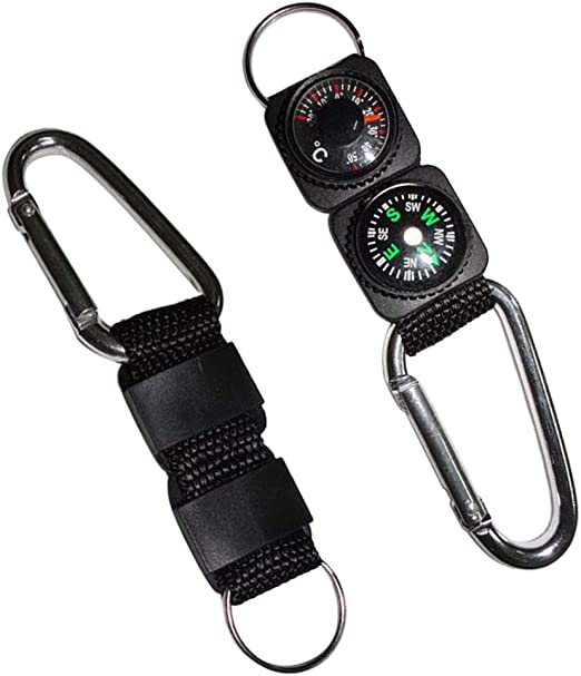 Keychain New Multifunctional Hiking Carabiner Mini Compass Thermometer Outdoor H