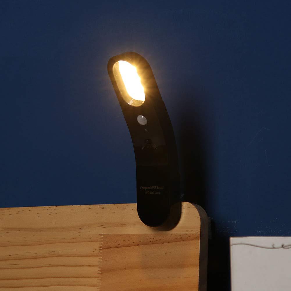 Heimdekoration tragbares Outdoor-Zubeh/ör wei/ß Notfall-Beleuchtungswerkzeug mit 1800mAh Akku Kreatives Nachtlicht mit 6 LEDs 1 W Bewegungserkennung Wandlicht kalt Licht