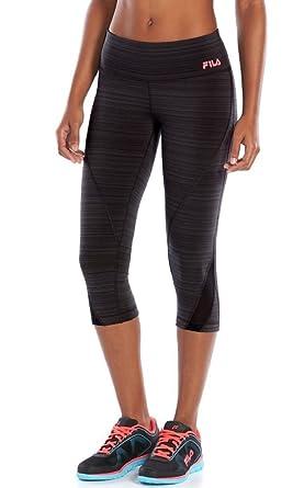 fe0e207636d80 FILA SPORT Signature Fleece-Lined Capri Running Leggings Black - Plus Size  (2X)