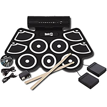 RockJam Electronic Roll Up MIDI Drum Kit with Built in Speakers, Foot Pedals, Drumsticks, and Power Supply