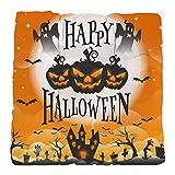 Tufted Chair Cushion Happy Halloween Ghosts Pumpkins