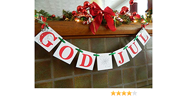 Norwegian Holiday Decorations Scandanavain Christmas Decor Happy Christmas Nordic Decor Swedish Christmas Banner GOD JUL banner