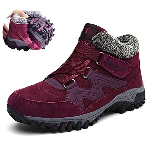 Ankle Loop Warm High Winter Snow Casual Top Bootie Hook Women Fur Shoes Lining Gracosy Boots Sneaker Red x0B6wTT