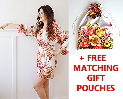 American Cuteness Silk Robes & Gift Pouches – Floral Satin Kimono Robe, Bridesmaid Gift, Bachelorette Bridal Party Getting Ready, Wedding Favor (Adult Women (2-12 US), White)