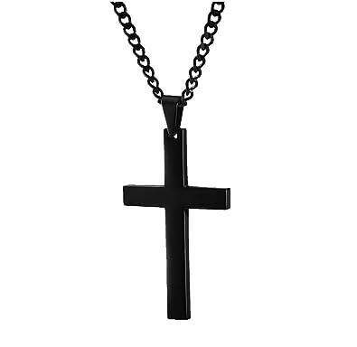 433aafc2255 Collier avec pendentif en croix - Acier inoxydable noir - Bijou pour homme