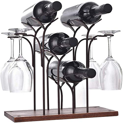 DCIGNA Freestanding Metal Wine Rack With Glass Holder, Wood Tabletop Wine Rack Metal, Wine Glass Holder Rack, Hold 4 Wine Bottles and 4 Wine Glasses, Suitable For Perfect for Home Decor, Bar, Wine Cel