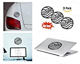 PACK of 3 Avatar Water Sticker Decal for Macbook, Laptop ,Car Window, Laptop, Motorcycle, Walls, Mirror and More. MTS028