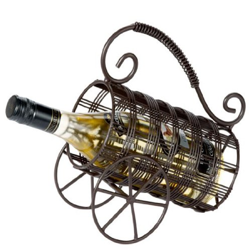 Ganz Wrought Iron Tabletop Wine Rack Bottle Holder Cart, 9-1/2-inch