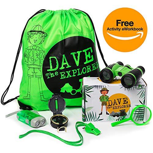 Dave The Explorer - Kids Explorer Kit - Outdoor Adventure Backpack with Toys: Magnifying Glass, Flashlight, Whistle, Binoculars & Compass for Kids - Plus eWorkbook - Educational Boy Girl STEM Kit