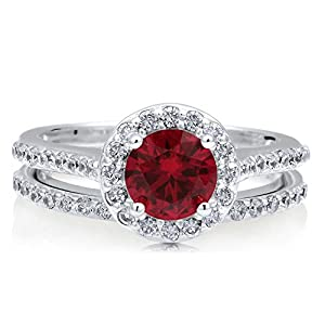BERRICLE Rhodium Plated Sterling Silver Round Cut Cubic Zirconia CZ Halo Engagement Ring Set Size 6