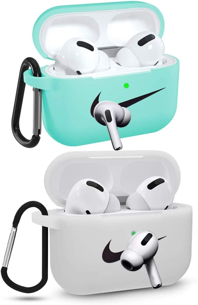 2pc Airpods Pro Case Silicone Protective Shockproof Wireless Charging Airpods Earbuds Case Cover Skin with Keychain Set Compatible for Apple AirPods Pro Charging Case (Style A)