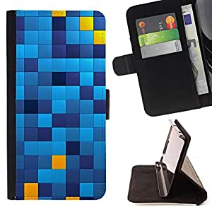 DEVIL CASE - FOR HTC Desire 820 - Pattern Chechkered Yellow Blue Squares - Style PU Leather Case Wallet Flip Stand Flap Closure Cover
