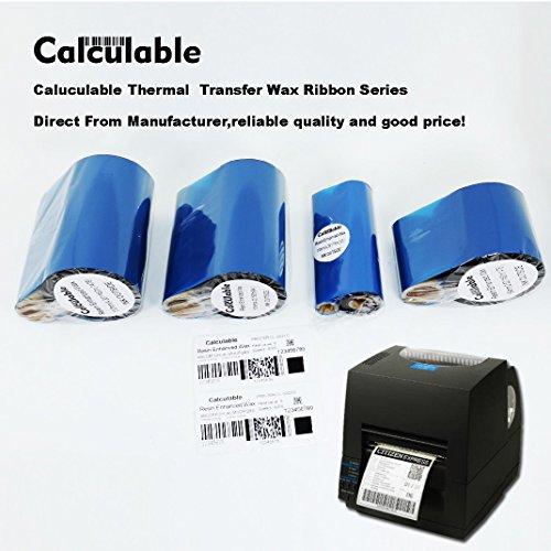 "DEFMATE Black 2.52"" x 1476' (64mmx450m) Thermal Transfer Wax Ribbon for Zebra Desktop Printer,TEC,DATAMAX,INTERMEC,Avery,Citizen,SATO,TSC,GODEX,ARGOX,BEIYANG,POSTEK"