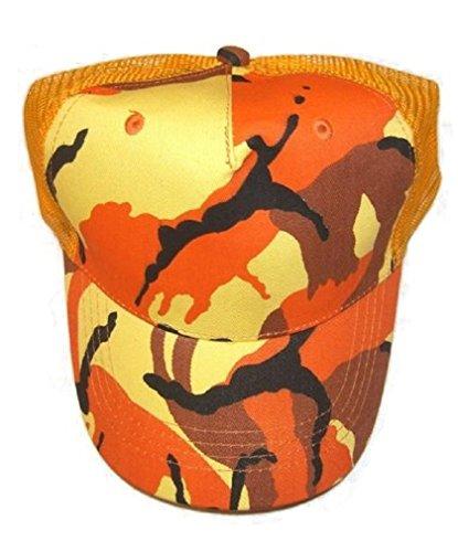 ucker Mesh Hat Snapback Style Camo Cap (Orange Camouflage Cap)