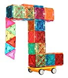 JuniClick Translucent Magnetic Building Tiles, 102 Piece Challenger Set