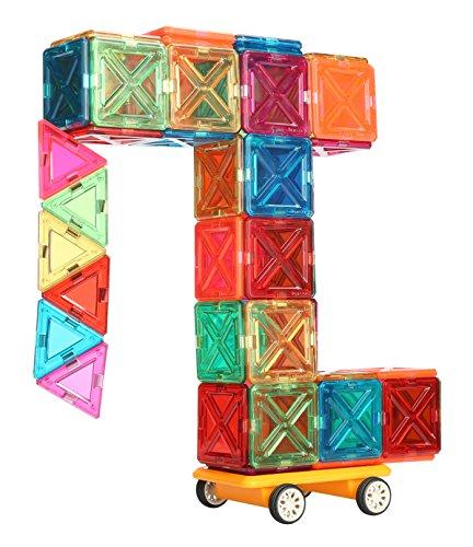 JuniClick Translucent Magnetic Building Tiles, 102 Piece Challenger Set by JuniClick