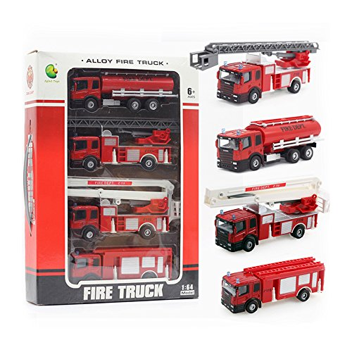 (Fire Engine Series Model 1:32 Fire Truck Series Car Artificial Model Toy (Pack of 4) Playset Preschool Learning for Children Toddlers Kids Gift (Gift Package))