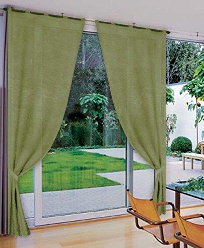 coppia TENDE VERDE raso 60X240 - tenda finestra cucina soggiorno ...