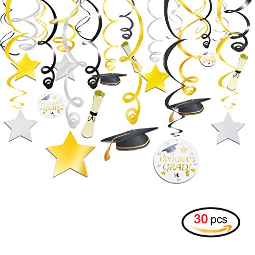 Konsait Graduation Party Hanging Swirl Decorations Ceiling Decor With Graduation Hat Cap & Diplomas,Black Gold Silver Graduation Accessories For Graduation Party Decoration Supplies Favors(Pack of 30) (Party Hanging Decor)