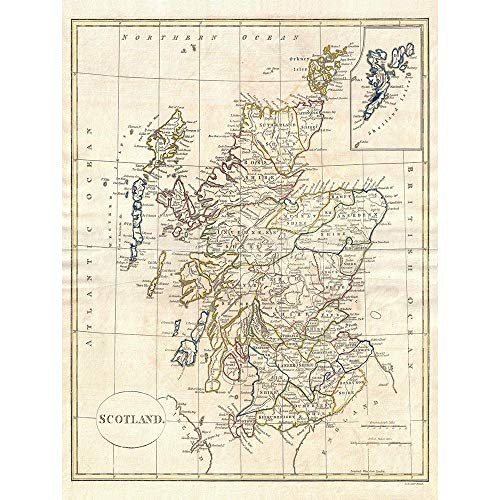 (Wee Blue Coo 1799 Clement Cruttwell Map Scotland Vintage Unframed Wall Art Print Poster Home Decor Premium)