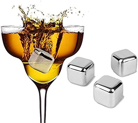 ★ EL MAS VENDIDO ★ Cubos de Hielo 6PCS Whisky Ice Cubes de Acero Inoxidable Reutilizable Cubitos EnfriadoreS para Vino, Cerveza, Whisky [IDEA REGALO]