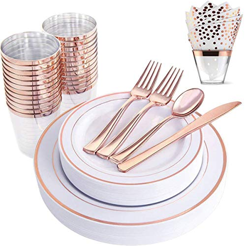 200 Piece Rose Gold Plastic Dinnerware Set - Disposable Heavy Duty Plastic Plates Setting include 25 Dinner Plates, 25 Desserts Plates, 25 Cups, 25 Forks, 25 Knives, 25 Spoons, 50 Napkins (Dinner Set 72 Pieces)