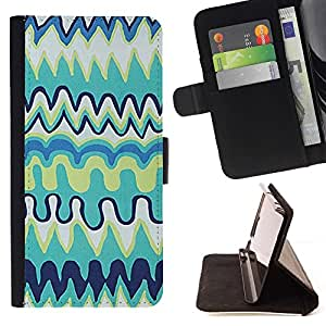 For Samsung Galaxy E5 E500 Case , Niños Kids Art Blue Drawing- la tarjeta de Crédito Slots PU Funda de cuero Monedero caso cubierta de piel