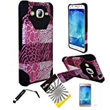 For Samsung Galaxy J7 J700 (2015) ITUFFY 3items: Screen Film+Stylus Pen+Dual Layer Impact Resistance Plastic Cover Soft Rubber KickStand Hybrid Case (Pink Exotic)