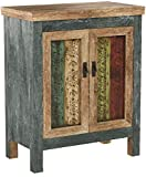 Great Deal Furniture 295722 Leo Solid Wood 2-Door Cabinet in Antique Weathered Multi-Color Style