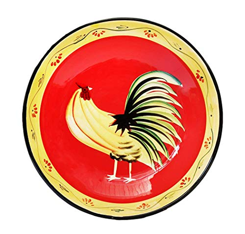 Tuscany Modern Burnt Orange Rooster Hand Painted Ceramic Large Pasta Bowl, 85099 by ACK