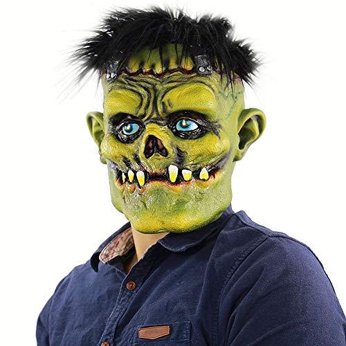 MacRoog Green Face Monster Halloween Masks Costume Adults Scary Funny Mask Men Women Halloween Props